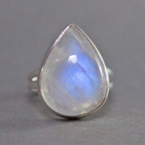 Rainbow Moonstone Pear Sterling Silver Ring US 7.5